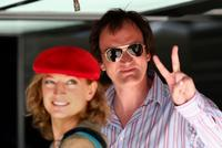 Quentin Tarantino and Zoe Bell at the European Grand Prix.