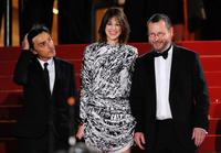 Yvan Attal, Charlotte Gainsbourg and Lars von Trier at the premiere of