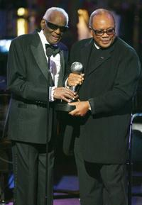 Ray Charles and Quincy Jones at the 35th Annual NAACP Image Awards.