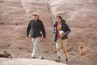 Director Danny Boyle and James Franco on the set of