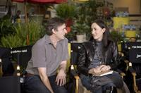 P.J. Hogan and Sophie Kinsella on the set of