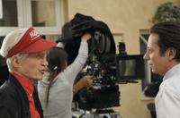 Alain Resnais and Mathieu Amalric on the set of