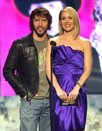 Christina Applegate and James Blunt at the 2007 American Music Awards held at the Nokia Theatre L.A. LIVE.