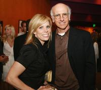 Larry David and Cheryl Hines at the afterparty for the premiere of