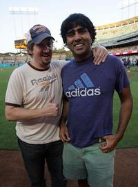 Paul Soter and Jay Chandrasekhar at the celebration of throwing out the first pitch.