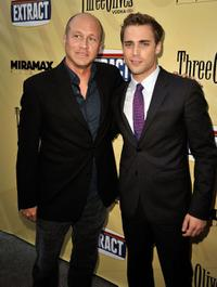 Mike Judge and Dustin Milligan at the premiere of