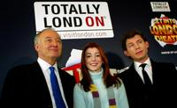 Ken Livingstone, Alyson Hannigan and Lee Evans at the photocall of