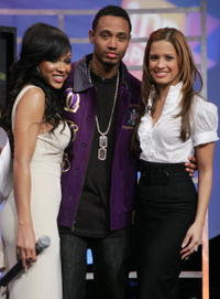 Meagan Good, BET VJ's Rocsi and Terrence Jackson at the BET's 106th and Park.
