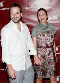 Peter Sarsgaard and Maggie Gyllenhaal at the Qatar Airways gala to celebrate their inaugural flights to NYC.