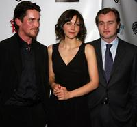 Christian Bale, Maggie Gyllenhaal and Christopher Nolan at the