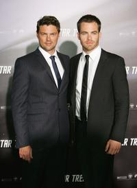 Karl Urban and Chris Pine at the world premiere of