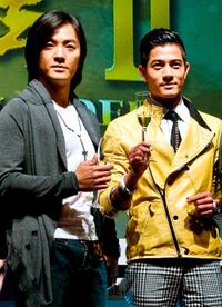 Ekin Cheng and Aaron Kwok at the press conference as part of Hong Kong Entertainment Expo for
