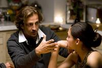 Director Gabriele Muccino and Rosario Dawson on the set of