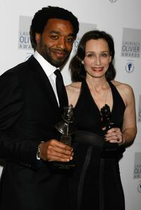 Chiwetel Ejiofor and Kristin Scott Thomas at the Laurence Olivier Awards.