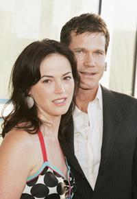 Joanna Going and her husband Dylan Walsh at the premiere of