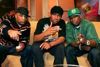 Producer Marley Marl, KRS-One and Rapper 50 Cent at the BET's Rap City.