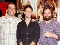 Ed Helms, Justin Bartha and Zach Galifianakis at the