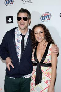 Johnny Knoxville and Alyssa Milano at the Playboy Super Bowl Party 2007.