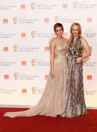 Emma Watson and J.K. Rowling at the 2011 Orange British Academy Film Awards in England.