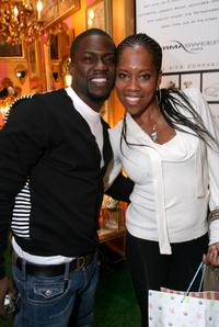 Kevin Hart and Regina King at the Retreat premiere Gift Lounge At Super Bowl XLII.
