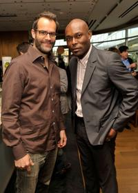 Josh Stamberg and Jimmy Jean-Louis at the FEED Foundation/Hungry In America project benefit hosted by Vanity Fair.