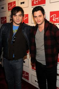 Ed Westwick and Penn Badgley at the Ray-Ban Remasters Legendary Clubmaster Shades.