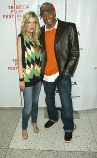 Tori Spelling and Dorian Missick at the premiere of