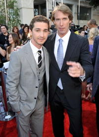 Shia LaBeouf and Director Michael Bay at the premiere of