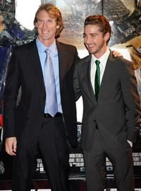 Michael Bay and Shia LaBeouf at the Japan premiere of