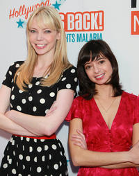 Riki Lindhome and Kate Micucci at the Malaria No More Presents: Hollywood Bites Back! in California.