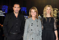 Jean Dujardin, director Nicole Garcia and Sandrine Kiiberlain at the Tribute to the French Cinema during the 10th Marrakech Film Festival.