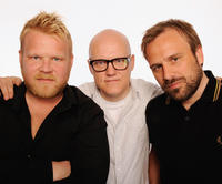 Anders Baasmo Christiansen, producer Brede Hovland and director Rune Denstad Langlo at the portrait studio at DIRECTV Tribeca Press Center during the Tribeca Film Festival 2009 in New York.