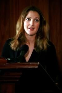 Drew Barrymore at the press conference to discuss expanding international school feeding programs.
