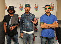 Shay Haley, Pharrell Williams and Chad Hugo at the Coors Light Search for the Coldest National competition in New York.