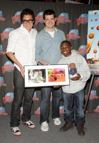 Phil Lord, Christopher Miller and Bobb'e J. Thompson at the promotion of
