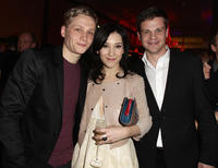 Matthias Schweighoefer, Sibel Kekilli and Benjamin Herrmann at the Medienboard Reception during the 61st Berlin International Film Festival in Germany.