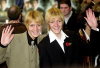 Oliver Phelps and James Phelps at the premiere of