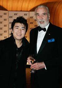 Christopher Lee and his Chinese pianist Lang Lang at the Montblanc VIP Charity Gala.