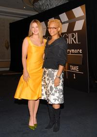 Drew Barrymore and Eggleston Bracey at the press conference to announce Barrymore as the newest face of CoverGirl Cosmetics.