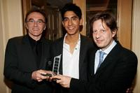 Danny Boyle, Dev Patel and Christian Colson at the winners room during the London Critics' Circle Film Awards.