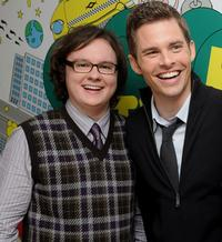 Clark Duke and James Marsden at the MTV's TRL.