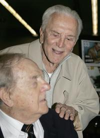 Karl Malden and Kirk Douglas at the dedication of the Barrington Station Post Office.