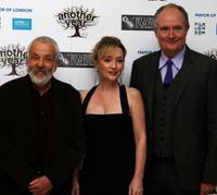 Director Mike Leigh, Lesley Manville and Jim Broadbent at the premiere of