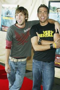 Joel David Moore and Zachary Levi at the premiere of