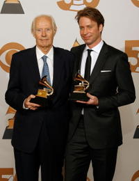 George Martin and Producer Giles Martin at the 50th annual Grammy awards.
