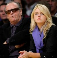 Jack Nicholson and Lorraine Nicholson at the Los Angeles Lakers against Utah Jazz playoff game.