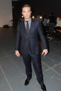 Ed Westwick at the Simon Spurr Fall 2011 fashion show during the Mercedes-Benz Fashion Week.