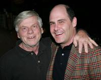 Robert Morse and Matthew Weiner at the season 4 premiere of