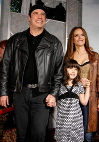 John Travolta, Ella Travolta and Kelly Preston at the premiere of