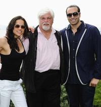 Michelle Rodriguez, Paul Watson and producer Mohammed Al Turki at the Sea Shepherd lunch honoring Michelle Rodriguez and Paul Watson in France.